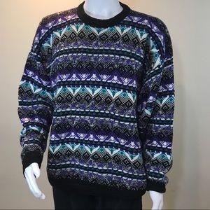 Vintage 80's/90's Grandpa sweater black/multicolor